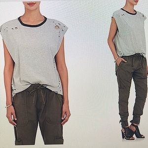 NSF Harley Distressed Muscle Tee Gray Small